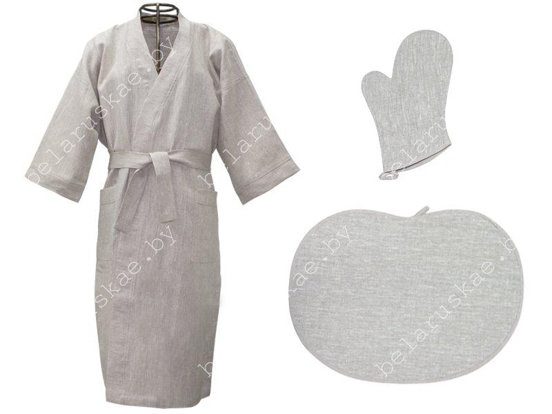 Комплект для бани (Халат, рукавица, коврик) 06С27_0_330 Белорусский лен, размер 170,176-104,108 (р.52,54)