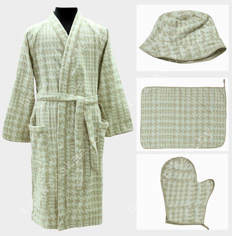 Комплект для бани женский (Халат, коврик, рукавица, шапка) 16С83_50_330 Гленчек  Белорусский лен, размер 170,176-96,100 (р.48,50)