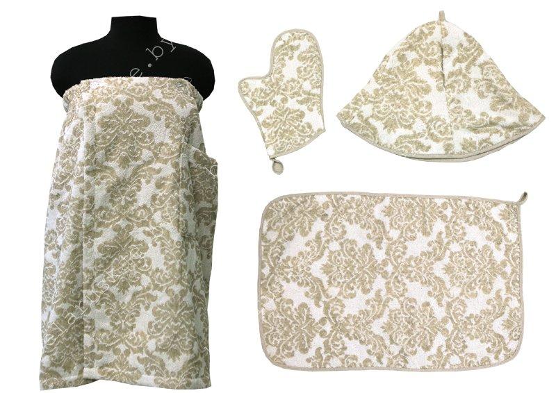 Комплект для бани женский (Полотенце на резинке 70х155см, коврик, рукавица, шапка) 17С359_57_330 Амадей Белорусский лен