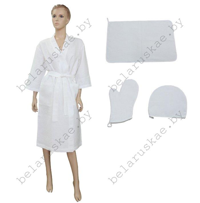 Комплект для бани женский (Халат, рукавица, коврик, шапка) 19С102_1_0  Белорусский лен, размер 170,176-104,108 (р.52,54)