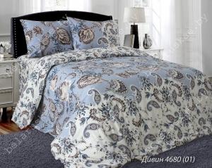 Постельное белье Евро Блакит арт. 3324 Дивин, рис. 468001, поплин