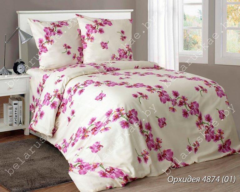 Постельное белье 2-х спальное Паулинка арт. 4125 Орхидея, рис. 487401, бязь
