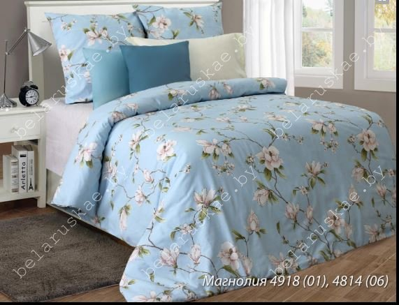 Постельное белье 1,5 спальное Блакит Премиум арт. 4130 Магнолия голубая, рис. 491801, бязь премиум