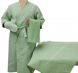 Комплект для бани (Халат, рукавица, 2 полотенца) 14С129_282_22 Белорусский лен, р-р 170,176-88,92 (р.44,46)